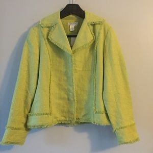 Coldwater Creek lime green blazer. Size 18. NWT
